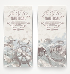 Travel and nautical vintage hand drawn banners vector
