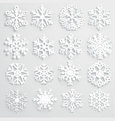Set of paper snowflakes vector