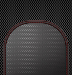 Dark sewing leather on carbon pattern background vector