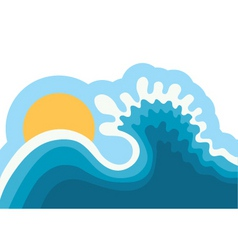 Wave in oceanwater background for surfing with sun vector