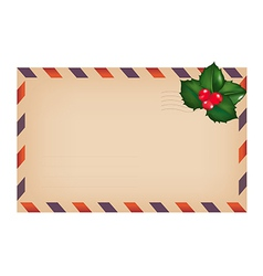 Envelope with holly berry vector