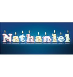 Nathaniel written with burning candles vector
