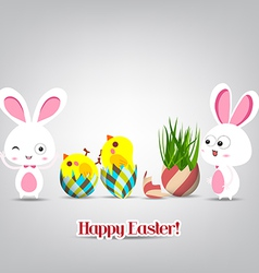 Easter eggs with grass grown from top and bunny vector