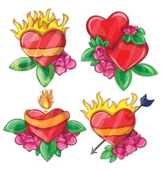 Cartoon hearts with fire for design vector