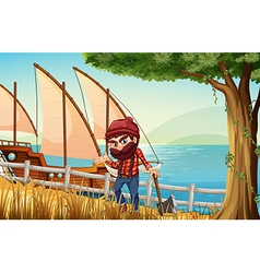 A lumberjack standing at the riverbank with a vector
