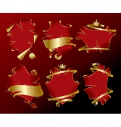 Set of holiday red banners vector