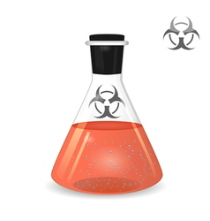 Chemical conical flask with toxic solution vector