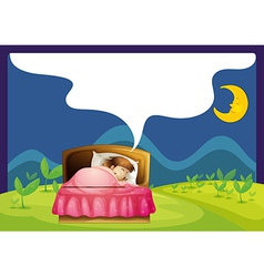 A girl sleeping in a bed vector
