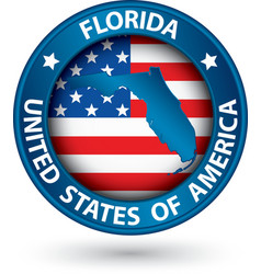 Florida state blue label with state map vector