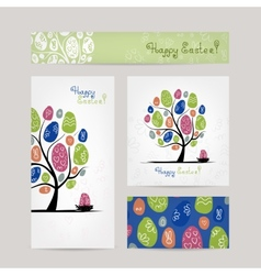 Postcards design with easter tree vector