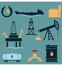 Oil industry icons setflat design vector