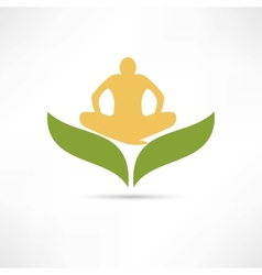 Lotus posture icon vector