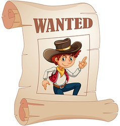 A poster of a wanted young cowboy vector