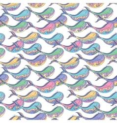 Colorful whale pattern vector