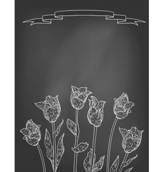 Card with tulips on chalkboard vector