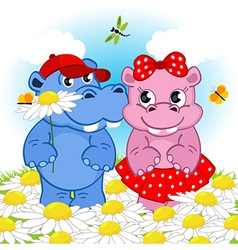 Hippo boy gives flower girl vector