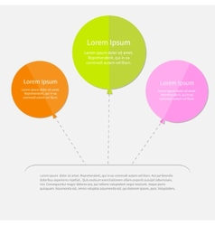 Three balloon infographic with dash line flat vector