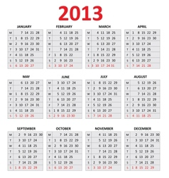 2013 simple calendar monday first day of the week vector