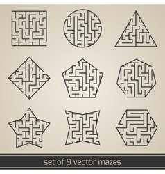 Maze labyrinth set vector