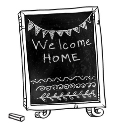 Chalkboard welcome home sign vector