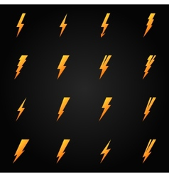 Lightning icons gold set vector