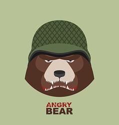 Bear soldierhead of angry bear in military helmet vector