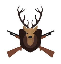 Hunting trophy deer head with 2 crossed shotguns vector