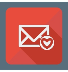 Mail icon envelope with heart flat design vector