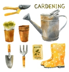 Watercolor gardening set vector