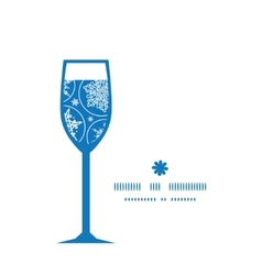 Falling snowflakes wine glass silhouette pattern vector