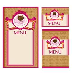 Menu coffee shop and restaurant set vector