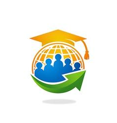 Students university college world arrow logo vector