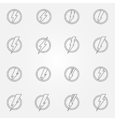 Lightning icons or emblems vector