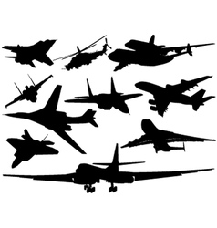 Set of different aircraft vector