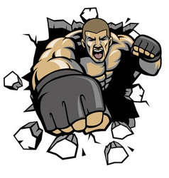 Mma fighter break the wall vector