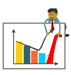 Businessman trying to increase sales figures vector