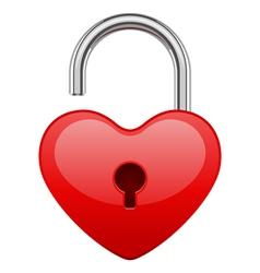 Open red shiny heart lock shape vector
