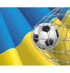 Soccer goal and ukraine flag vector