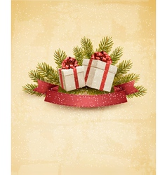 Holiday background with ribbon and red gift boxes vector