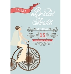 Retro bridal shower invitationbride and retro vector