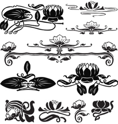 Pattern with a water lily vector