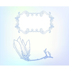 Card with magnolia on light blue vector