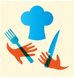 Chef with knife and fork icon vector