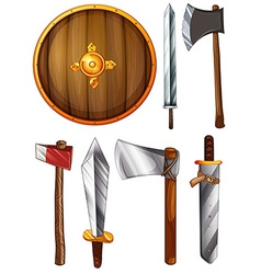 A shield swords and axes vector