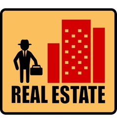 Real estate symbol with man and city vector
