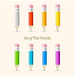 Rainbow pencil set flat vector