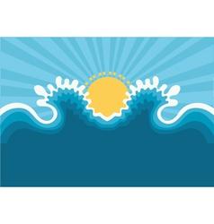 Symbol of wavesblue nature seascape for design vector