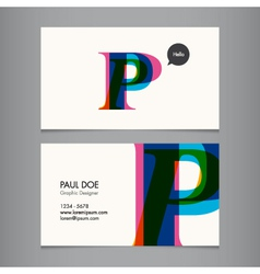 Business card template letter p vector