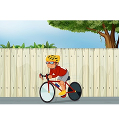 A young boy biking vector