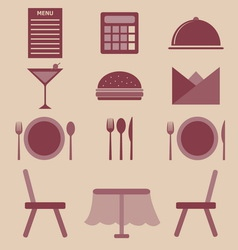 Set of restaurant color icons vector